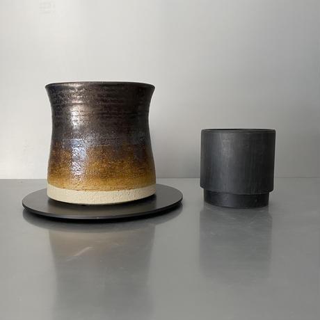 【 Do-kyo-pot M 】 煙突型 ~ 銅鏡 ~ 4.5号鉢 笠間焼 No. 72