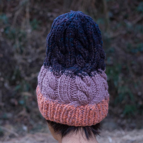 Corn Head Knit Cap (Pink Purple Navy)