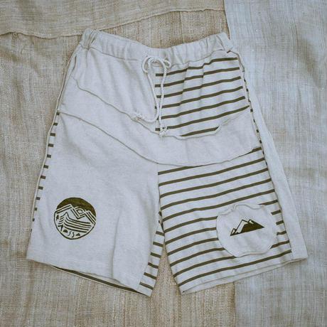 Patchwork Half Pants / Natural (M size)