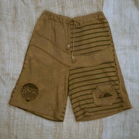 Patchwork Half Pants / Khaki (M size)
