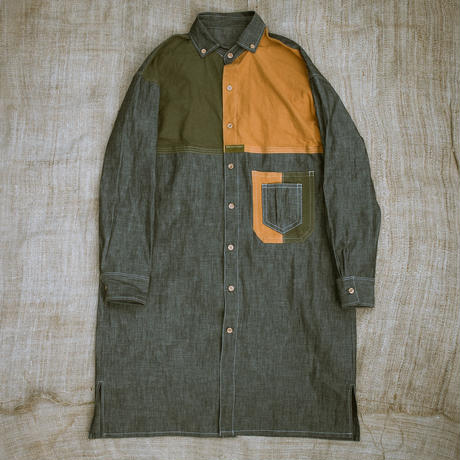 Combination Shirt Dress (Orange / Khaki)
