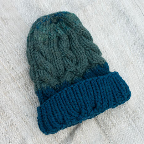Corn Head Knit Cap (Green Navy)