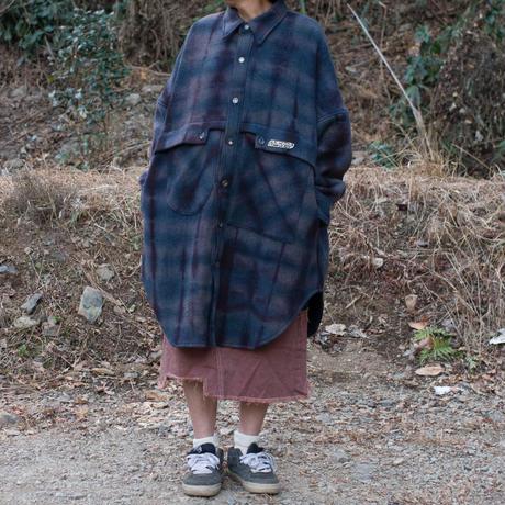 草木染 CPO Wool Coat (Navy Violet)