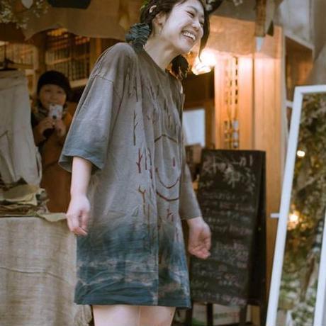 型染め / Oversize T-shirts (森のニコちゃん Gray)