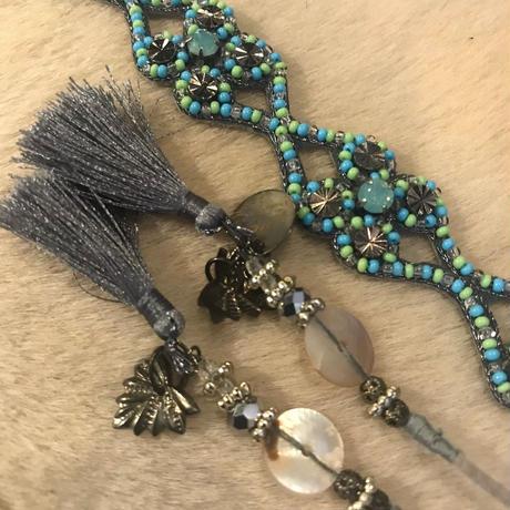 Deepa Gurnani Tiewrap blue seed beads  blue