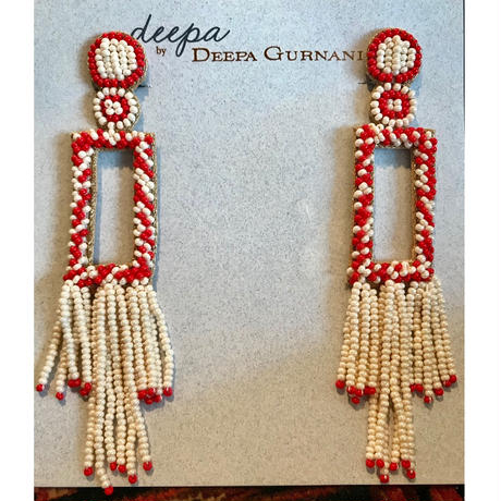 Deepa Gurnani seed bead red イヤリング rectangle  clips