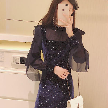 Bijjou dot  velour dress(No.300774)【black , navy】