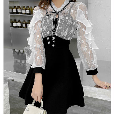 Ruffle frill sleeve dress(No.301025)【white , black】