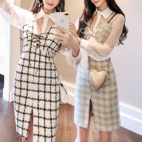 High laced tweed dress & blouse set(No.300573)【3color】