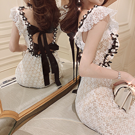 Back double ribbon long dress(No.300690)