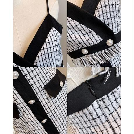 Mono check blouse & setup(No.300750)【white , black】