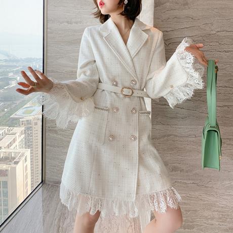 Flare laced tweed dress jacket(No.301837)