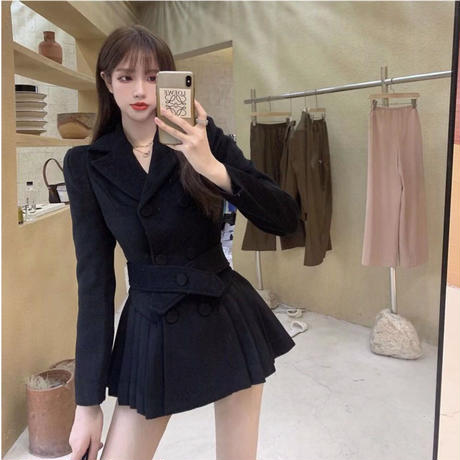 Cross belt melton pleats coat(No.301972)【brown , black ,gray】