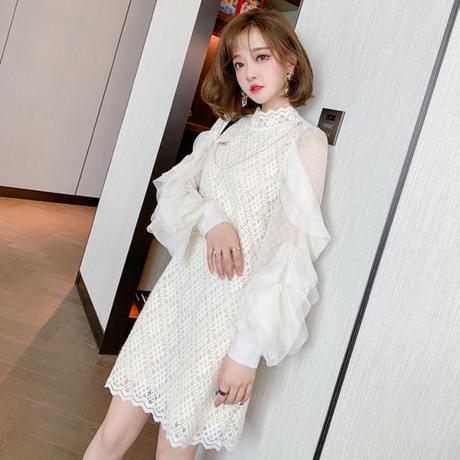 Ruffle lace sleeve chain brooch dress(No.301838)【black ,white】