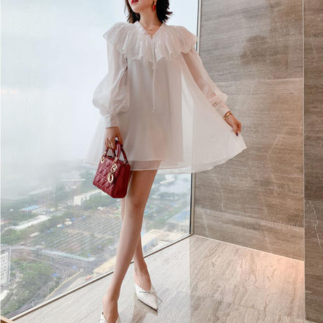 Volume A-line chiffon dress(No.301134)