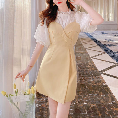 Tulip yellow blouse & dress(No.301116)
