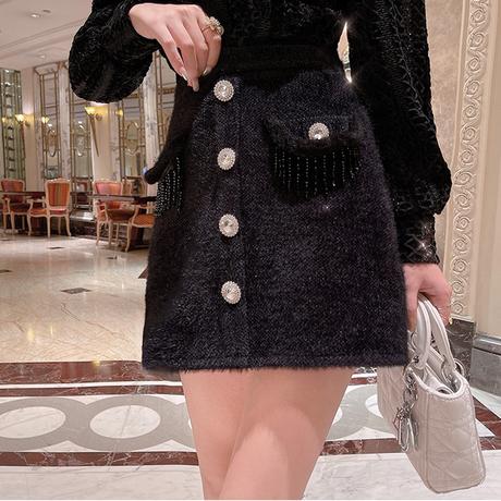 Eco-fur bijou button skirt(No.301947)【black】