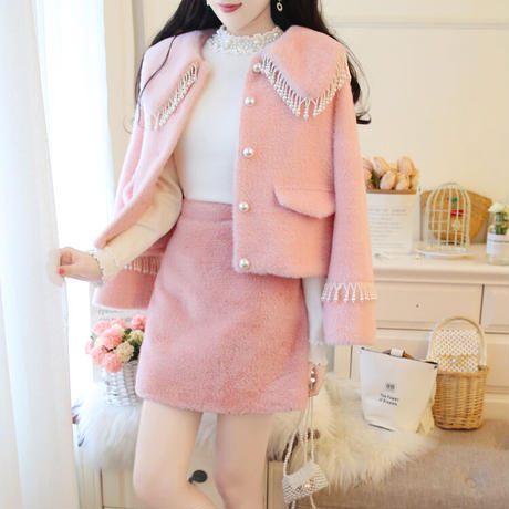 Eco-fur pearl button setup(No.301961)【white , pink】