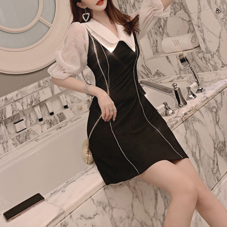 Bijjou line simple lady dress(No.300726)