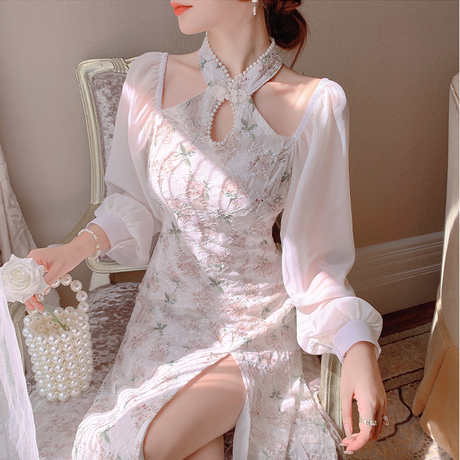 Elegant floral wang-hong midi dress(No.030816)