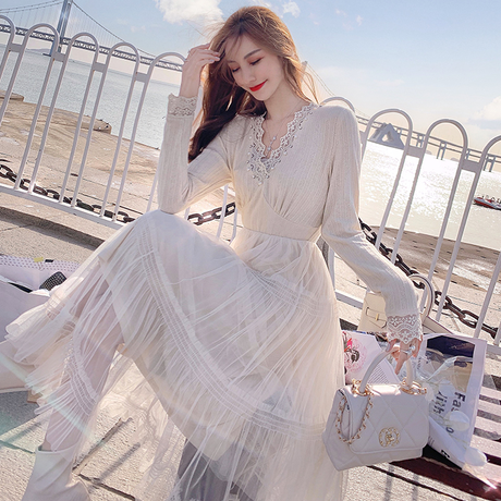 Muse flare long tulle dress(No.301817)【black , white】
