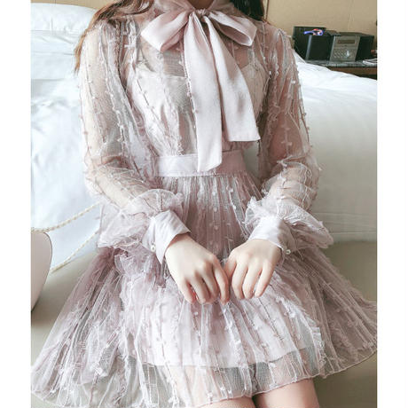 Fairy ribbon tie dress(No.301041)【3color】