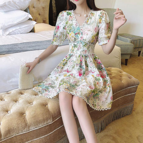 一部即納♡Dreamy flower cutting lace dress(No.301312)