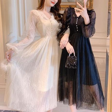 Lacy tulle pleats long dress(No.300798)【white , black】
