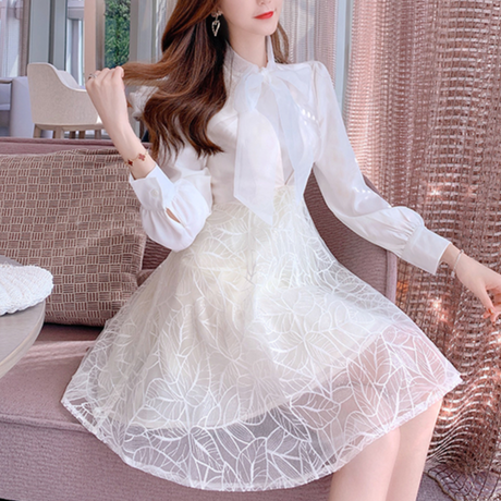 V-cut lacy skirt dress & ribbon blouse set(No.301044)