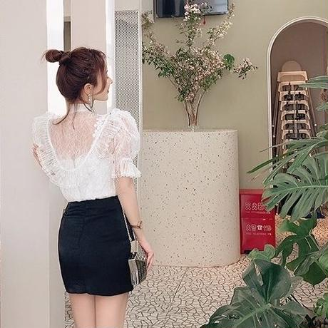 Sheer volume lace frill blouse(No.300676)