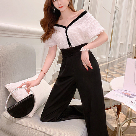 Monotone petite frill tops & pant set(No.301283)【short , long】