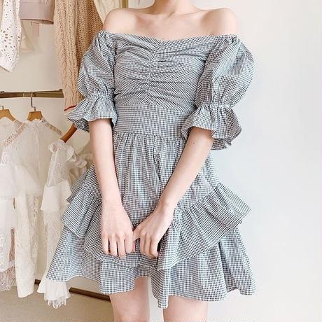 Gingham check ruffle frill dress(No.300704)