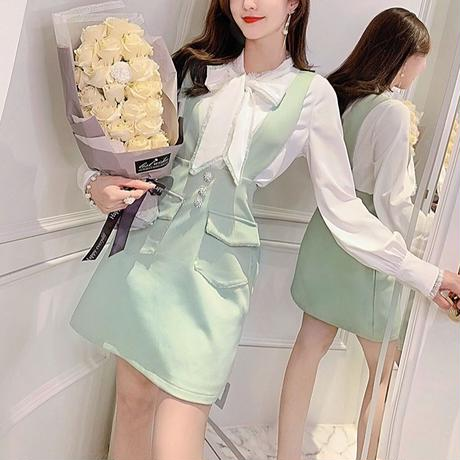 Mint vcut suit dress & blouse set(No.300792)