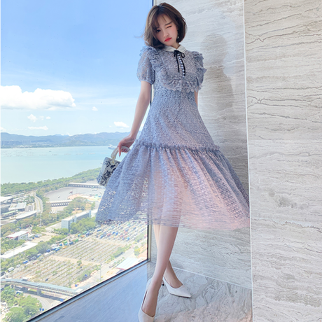 Alice blue cutting lace dress(No.301491)