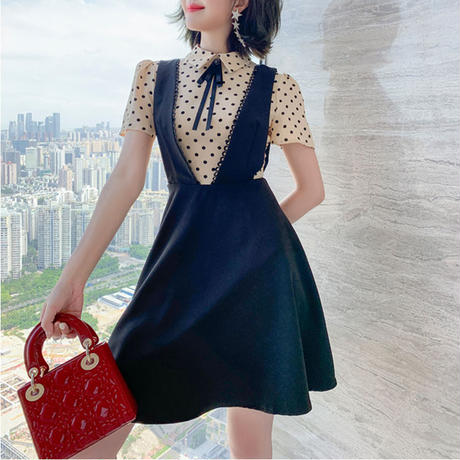 Dot blouse v-cut suit dress(No.301378)