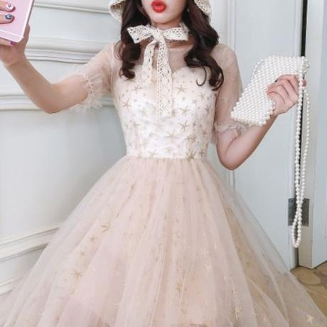 Star tulle long dress(No.300464)