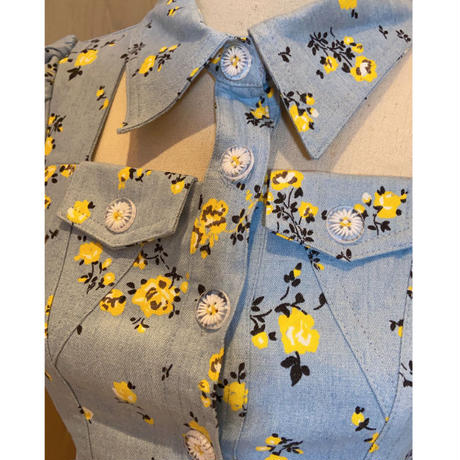 Denim daisy button setup(No.301348)【2color】