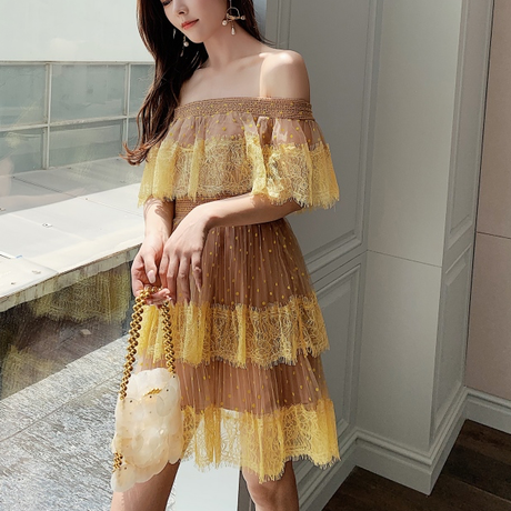 Two tone tulle off shoulder dress(No.301474)【long / mini】