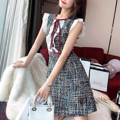 Red ribbon mix tweed dress(No.300470)