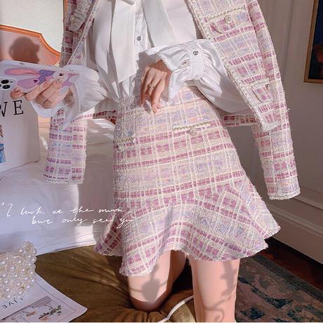 Dreamy pink check tweed setup(No.030905)