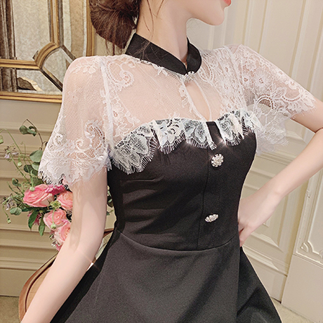 Lace cape docking dress(No.300691)