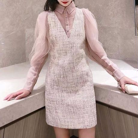 Pink beige tweed ruffle sleeve dress(No.300826)