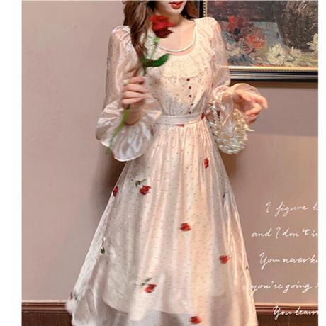 Rose dot chiffon flare long dress(No.030906)