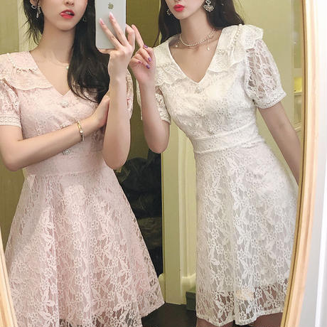 Pearl line collar lace dress(No.301207)【pink , white , cream , blue】