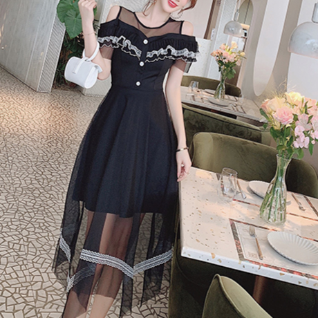 Petite frill shoulder long dress(No.300728)