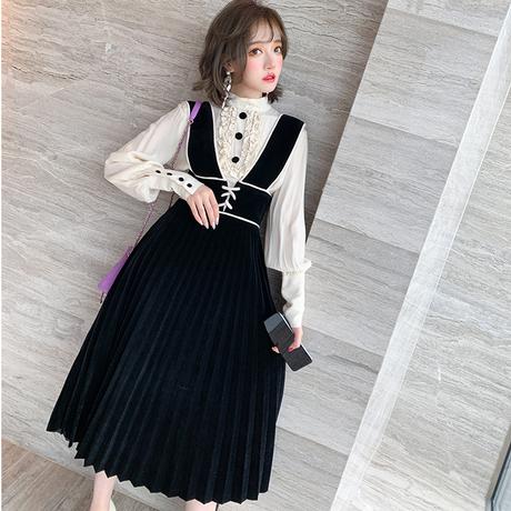 Lady retro button blouse & pleats skirt set(No.301899)【yellow , black】