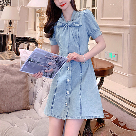 Dolly ribbon denim dress(No.301064)