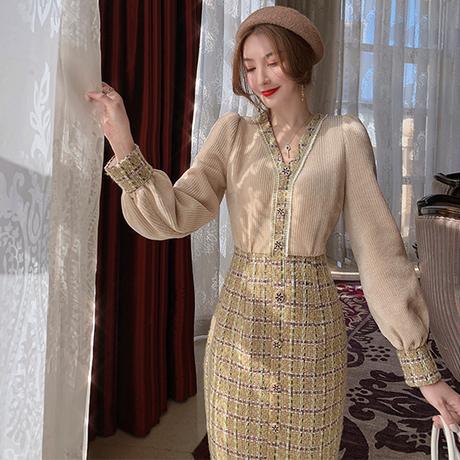 Antique check tweed knit docking dress(No.301828)