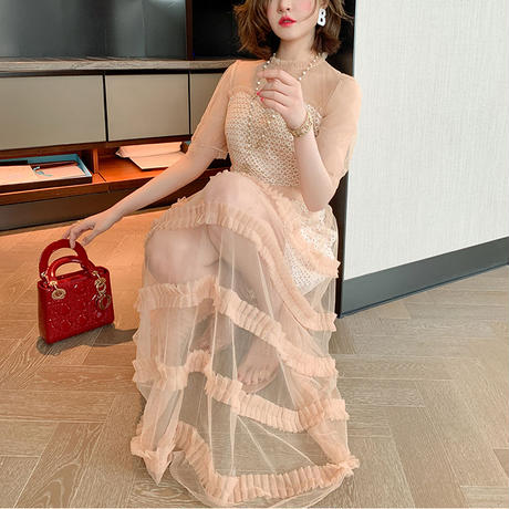 Pink beige long tulle dress(No.301178)
