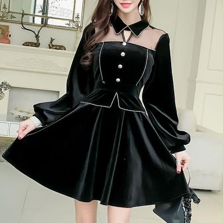 Velour chic black dress(No.300949)